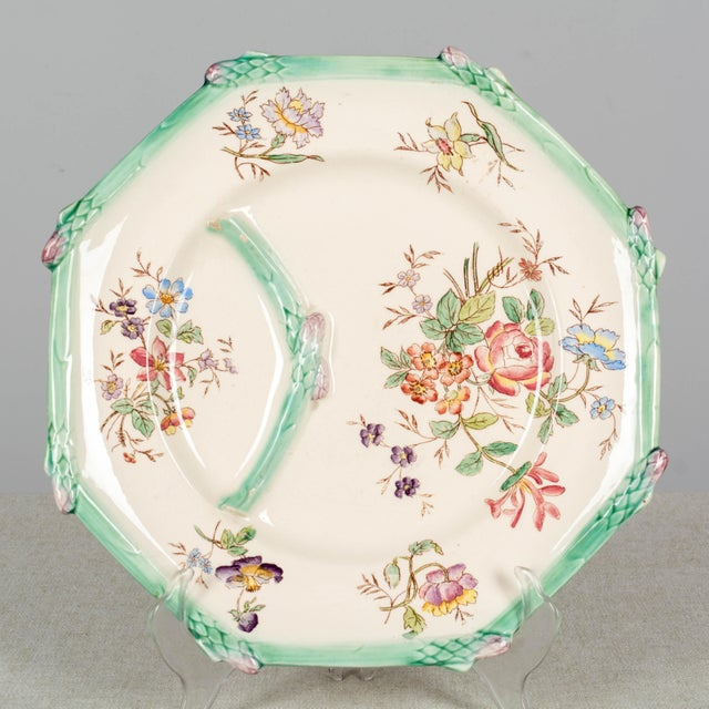 Longchamp French Majolica Asparagus Plates and Serving Set For Sale - Image 9 of 13