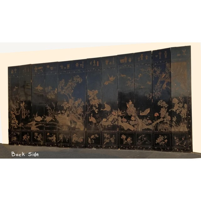 20th Century Asian Chinese Chinoiserie Black Coromandel 12 Panel Screen Oriental Asian For Sale - Image 4 of 12