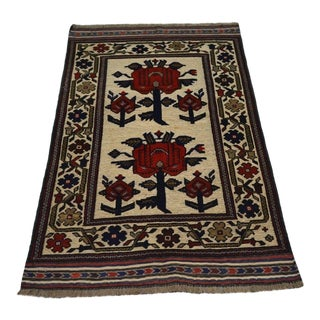 Traditional Turkish Tribal Red and Camel Wool Kilim Rug
