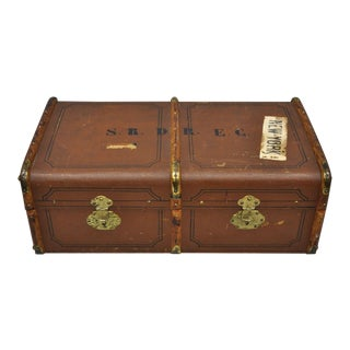 Antique Wood P. Gillhausen Zurich Trunk For Sale