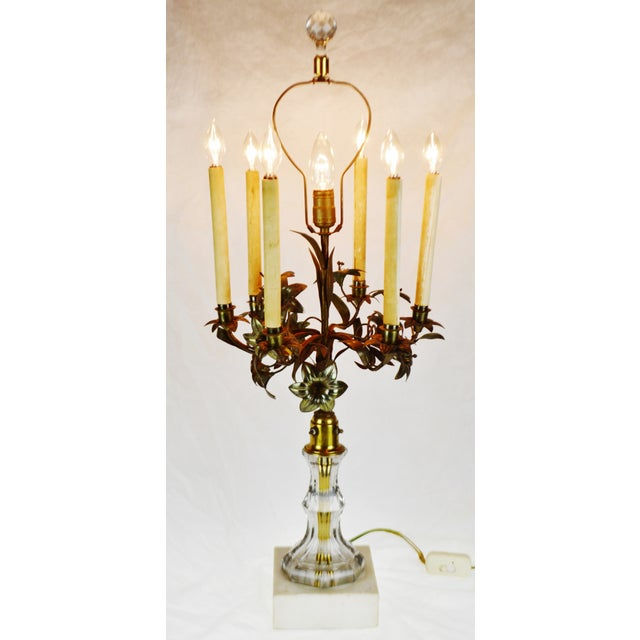 Antique Toleware Candelabra Table Lamp With Marble Base For Sale - Image 13 of 13