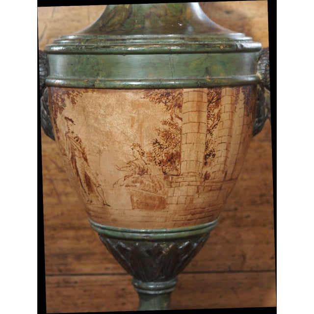 Vintage Single Italian Painted Urn Lamp For Sale - Image 4 of 11