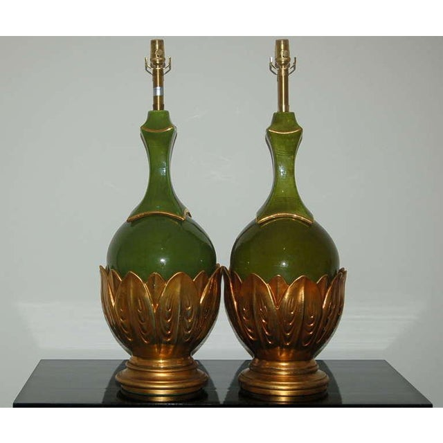 ENORMOUS pair of vintage Italian matched ceramic Artichoke table lamps by The Marbro Lamp Company. AVOCADO GREEN lamps...