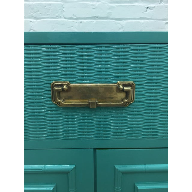Dixie Lacquered Turquoise Faux Bamboo Credenza - Image 8 of 11