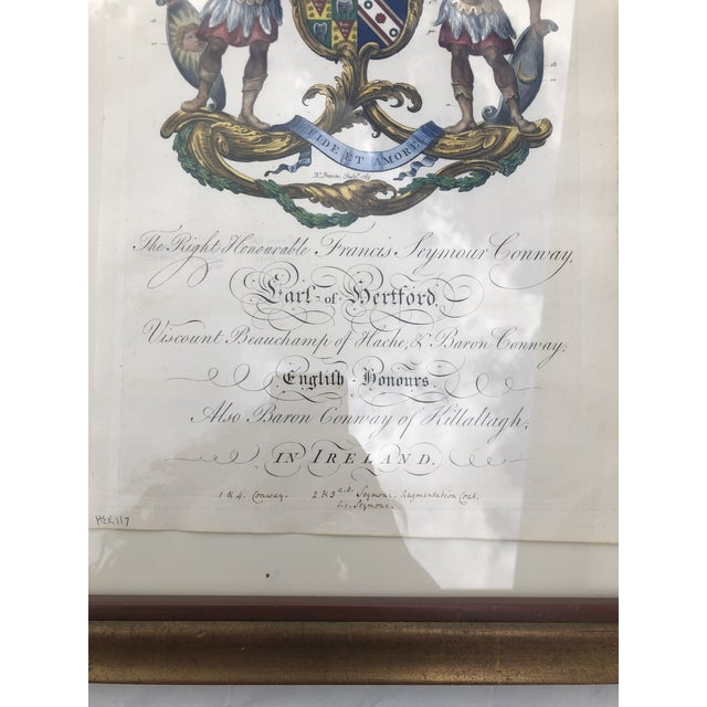 Framed Antique Engravings of Francis Seymour-Conway and George Lytteltons' Coat of Arms - a Pair For Sale - Image 4 of 13
