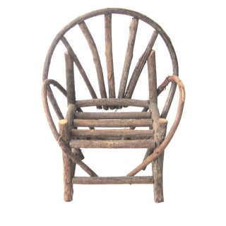 1960s Dolls' Americana Andirondack Wooden Twig Chair For Sale