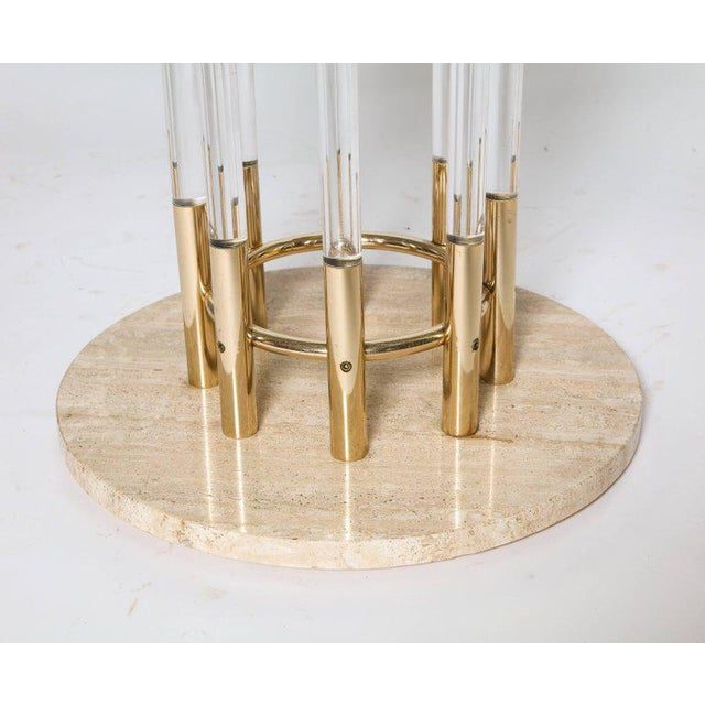 1970s 1970s Brass, Lucite, & Travertine Round Dining Table For Sale - Image 5 of 7