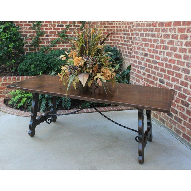 Antique French Spanish Oak 19th Century Mission Catalan Style Farmhouse Dining Table Desk For Sale - Image 12 of 13
