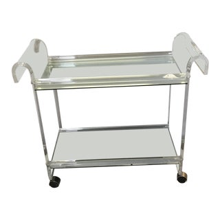 Mid-Century Modern Lucite & Silver Chrome Mirrored Bar Cart Butlers Rolling Table For Sale