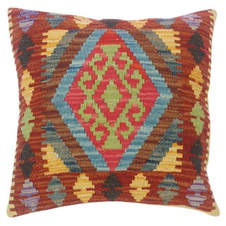 """Cleo Rust/Gray Hand-Woven Kilim Throw Pillow(18""""x18"""") For Sale"""