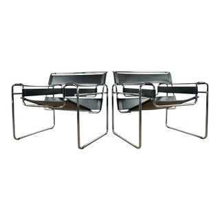 Breuer for Knoll Design Within Reach Wassily Black & Chrome Armchairs - A Pair