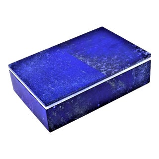 Lapis Lazuli Marble Jewelry Keepsake Box -Semi-Precious Stone Palm Beach Boho Chic For Sale