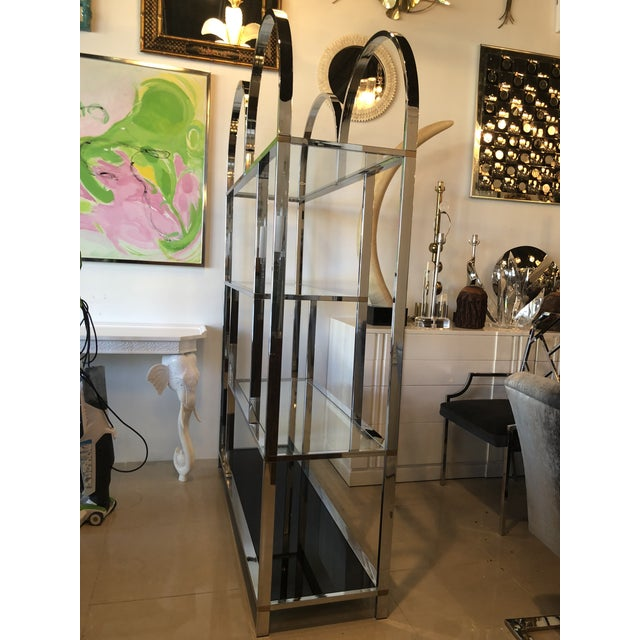 Vintage Arched Chrome Glass Display Shelf Shelves Etagere For Sale - Image 12 of 13