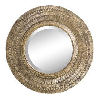 Friedman Brothers Round Gold Decorative Mirror For Sale