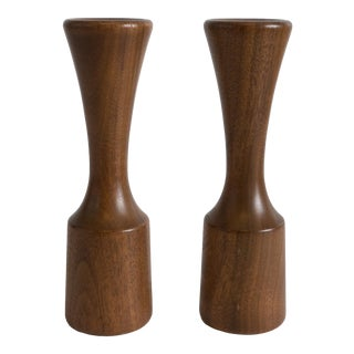 1960s Danish Modern Turned Wood Candlesticks - a Pair For Sale