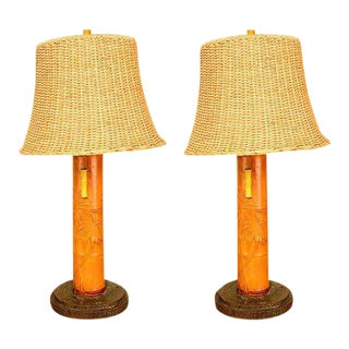 Pair of Hollywood Regency Bamboo Table Lamps For Sale