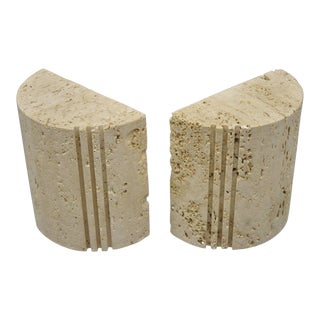 Flli Mannelli for Raymor Italian Travertine Stone Sculpted Modern Bookends - a Pair For Sale