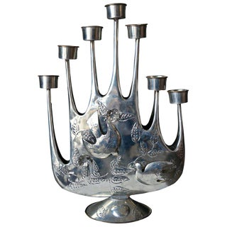 1965 Brutalist Tin Candelabra by Artist Gene Byron For Sale