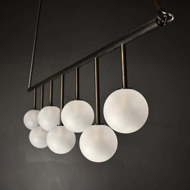Contemporary Trillo Ceiling Fixture in Oil-Rubbed Bronze & Blown Glass by Blueprint Lighting For Sale - Image 3 of 7