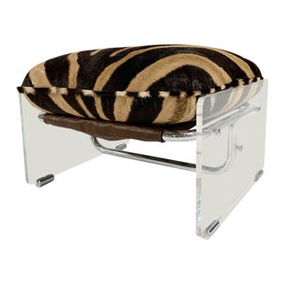 Vintage Pace Collection Argenta Lucite and Chrome Ottoman With Custom Zebra Hide Cushion For Sale