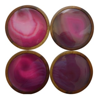 Contemporary Pink Fuschia Agate Drink Coasters on Hard Wood Bases - Set of 4 For Sale