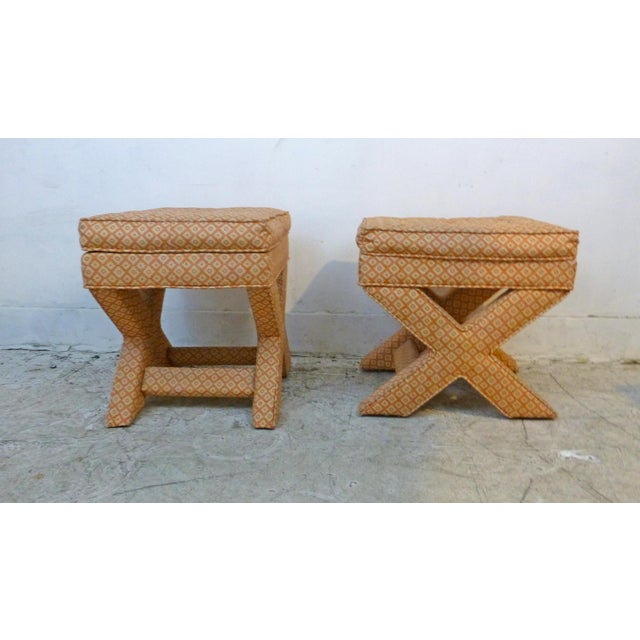 Contemporary X Base Upholstered Stools - A Pair For Sale - Image 3 of 8