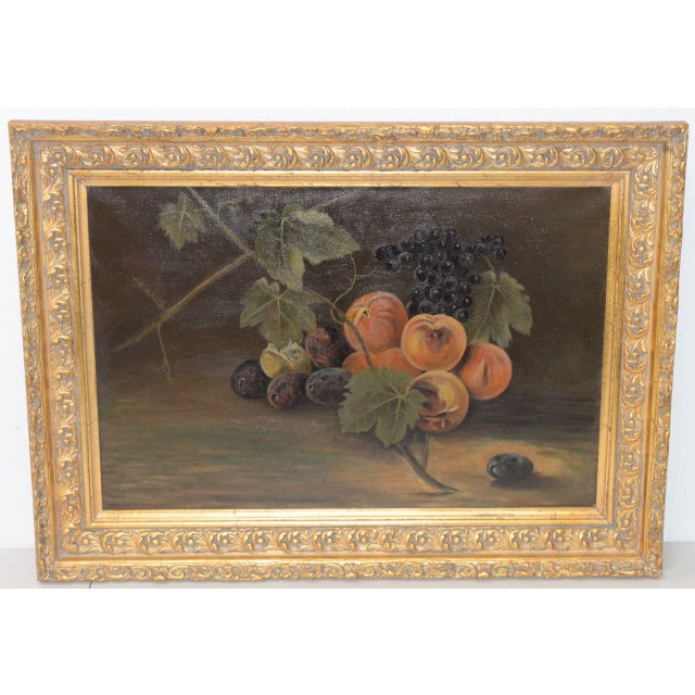 """19th Century """"Fruit Table"""" Still Life Oil Painting For Sale - Image 9 of 9"""