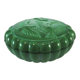 Peace Dove Green Malachite Glass Box For Sale