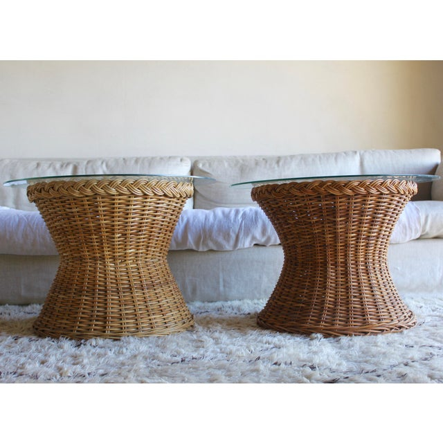 Franco Albini Vintage Mid Century the Wicker Works Rattan Handwoven High End Tulip Side Tables Franco Albini Gabriella Crespi Style - a Pair For Sale - Image 4 of 12