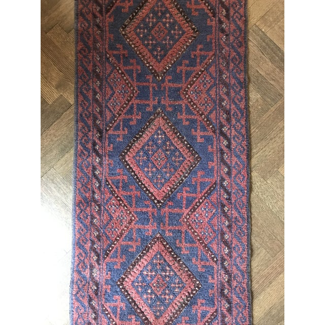 Persian Vintage Mid-Century Hand-Knotted Baluch Runner Rug - 2′1″ × 8′2″ For Sale - Image 3 of 6