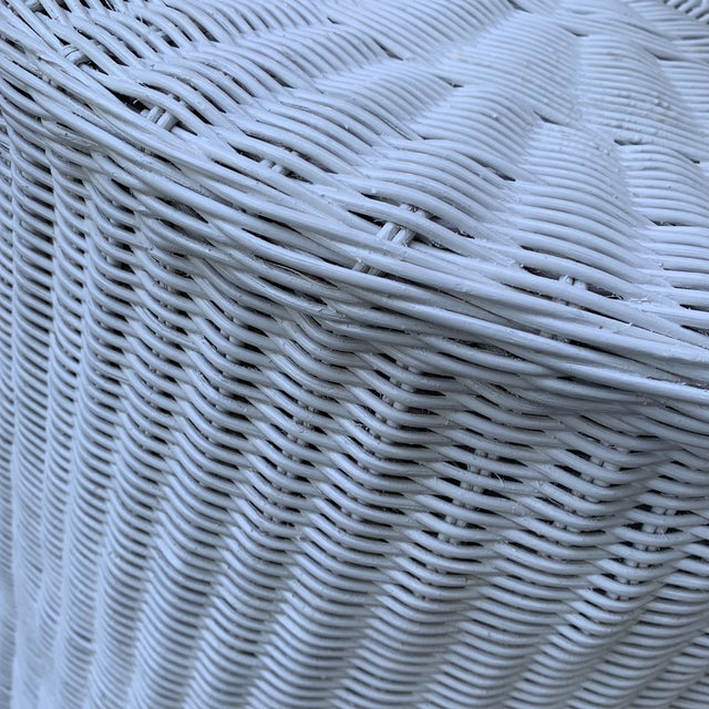 2010s Trompe l'Oeil Round Top White Draped Rattan Table For Sale - Image 5 of 9