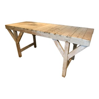 C1940 Oak Industrial Work Table