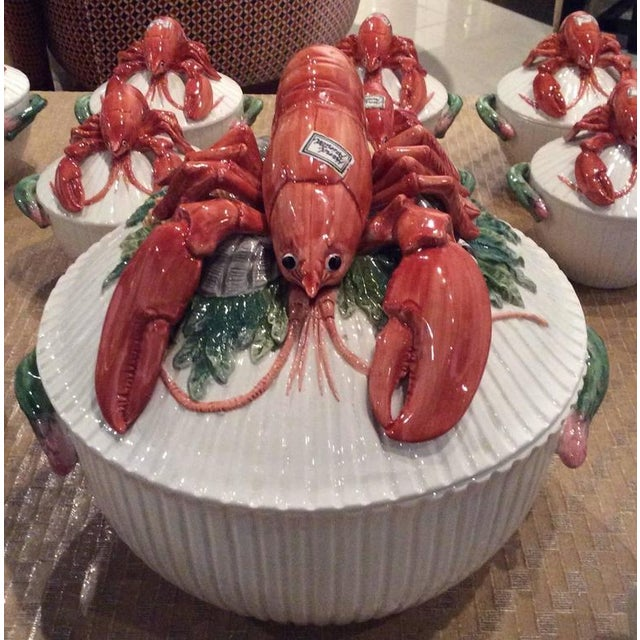 The most amazing vintage Fitz & Floyd lobster serving set, 11 pieces. All original labels are still present on each piece,...