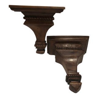 Traditional Pottery Barn Mahogany Wooden Sconce Shelves - a Pair For Sale