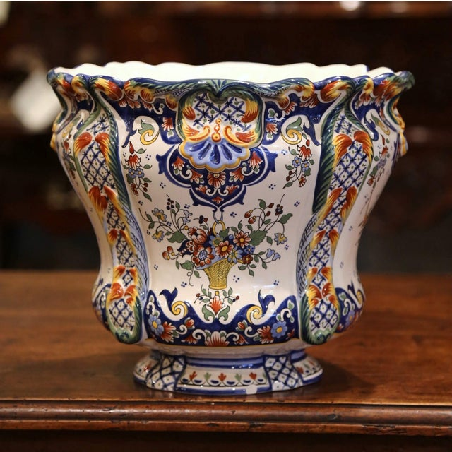 French Early 20th Century, French Hand Painted Faience Planter From Normandy For Sale - Image 3 of 7