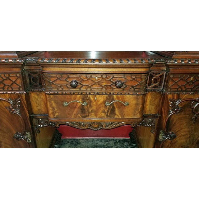 Incredible Early 19c Irish Chinese Chippendale Mahogany Buffet Or