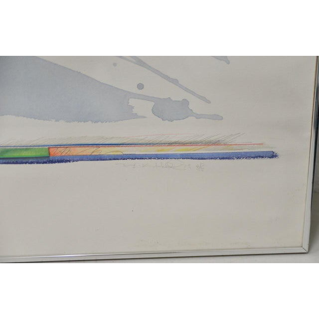"""Abstract Peter Kitchell """"Zorro"""" Monumental Abstract Watercolor c.1979 For Sale - Image 3 of 7"""