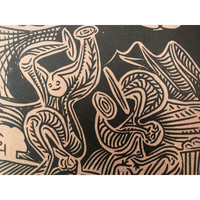 """Mid 20th Century Vintage Picasso Linocut """"Danseurs Et Musicien"""" For Sale - Image 5 of 6"""