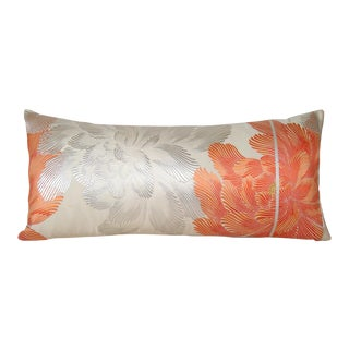 Coral Peony Vintage Japanese Silk Obi Bolster Pillow Cover