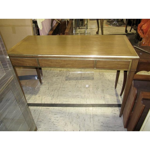 Very Chic Mid-century Mahogany & Brass Inlaid Writing Table - Image 8 of 10