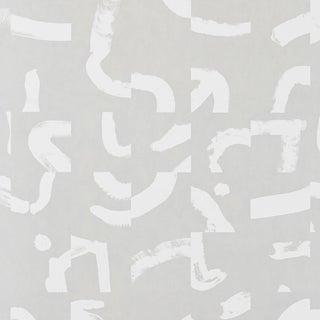 Sample - Schumacher X Caroline Z Hurley Sepiessa Wallpaper in Stone For Sale