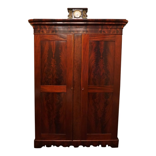 1840's French Wood Armoire With Crotch Mahogany Panels For Sale