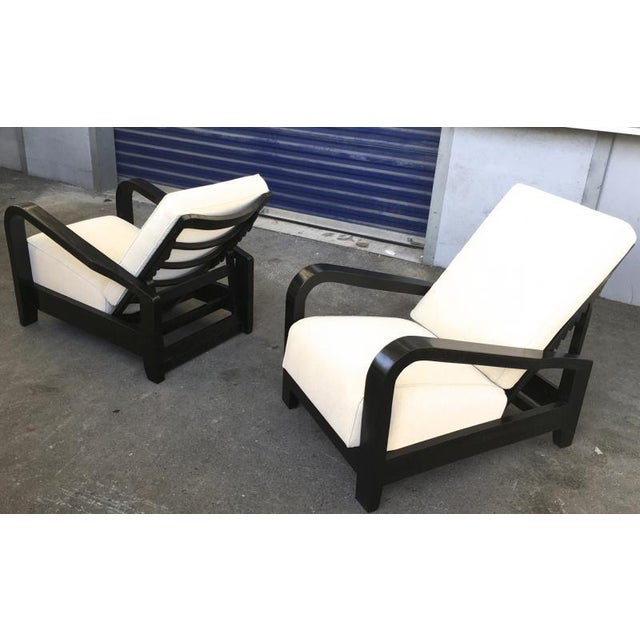 Black Pair of France 50s Exceptional Leaning Comfy Lounge Chairs Fully Restored For Sale - Image 8 of 8