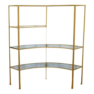 Mid Century Modern Glass Curved Wrought Iron Shelving Unit Frederick Weinberg For Sale