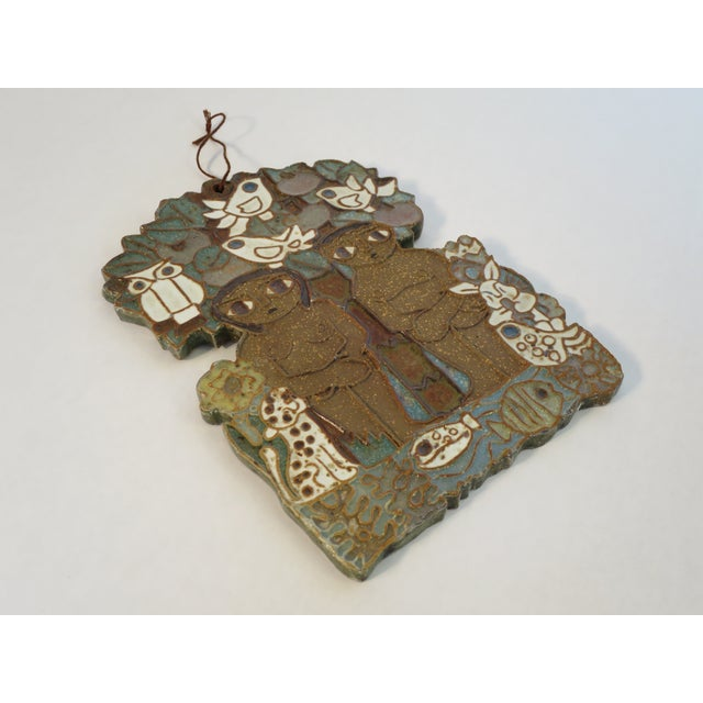 Vintage Ceramic Wall Plaque by St. Andrew's Priory Pottery For Sale - Image 4 of 7