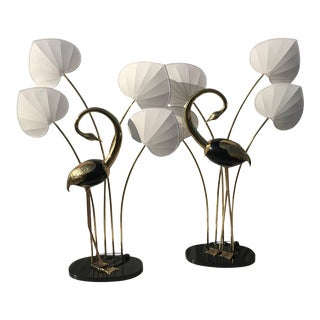 Monumental Brass Standing Egret Floor Lamps by Antonio Pavia - a Pair For Sale