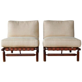 Ilmari Tapiovaara Walnut Lounge Chairs, Italy, 1957 - a Pair For Sale