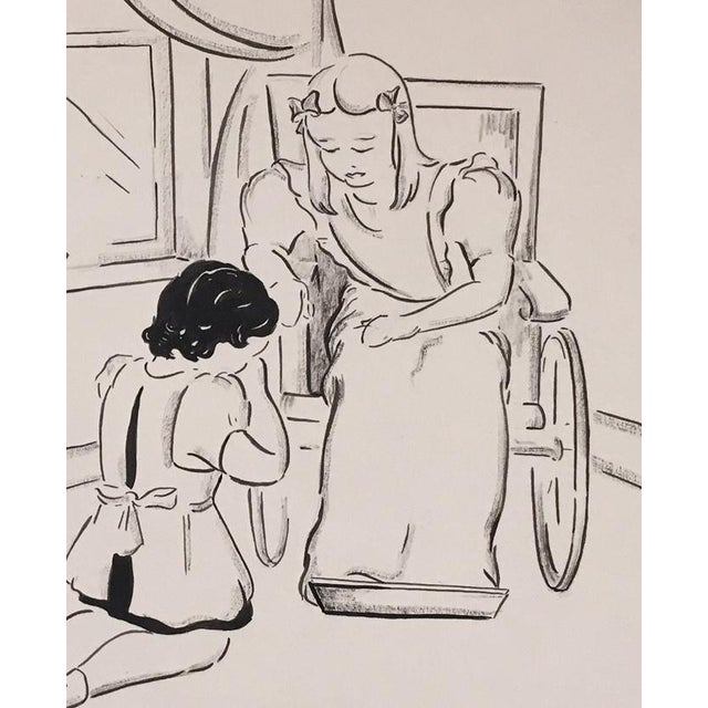 Up for sale is this charming pen and ink drawing, one of a series of such drawings on board of the story of Heidi. Here, a...