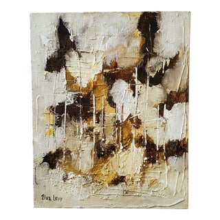 """Vintage """"Elva Levy"""" Abstract Canvas Painting For Sale"""