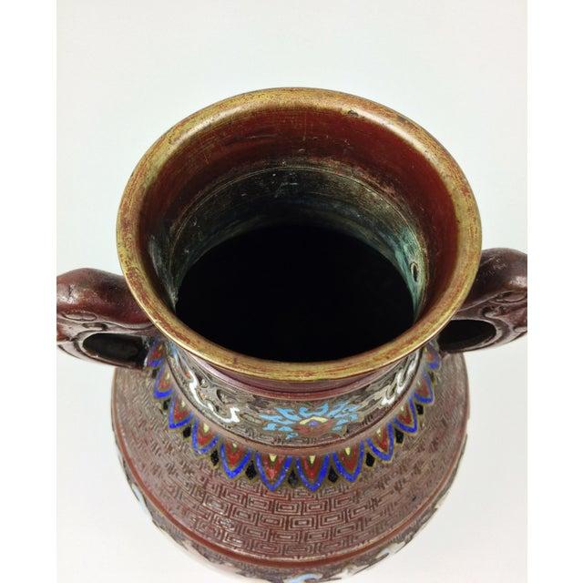 Vintage Japanese Champleve Cloisonne Bronze Vase - Image 8 of 8
